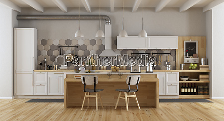 white vintage kitchen with island