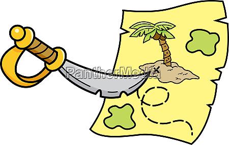 cartoon illustration of a sword pointing