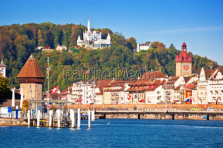 lucerne lake waterfront and famous landmarks