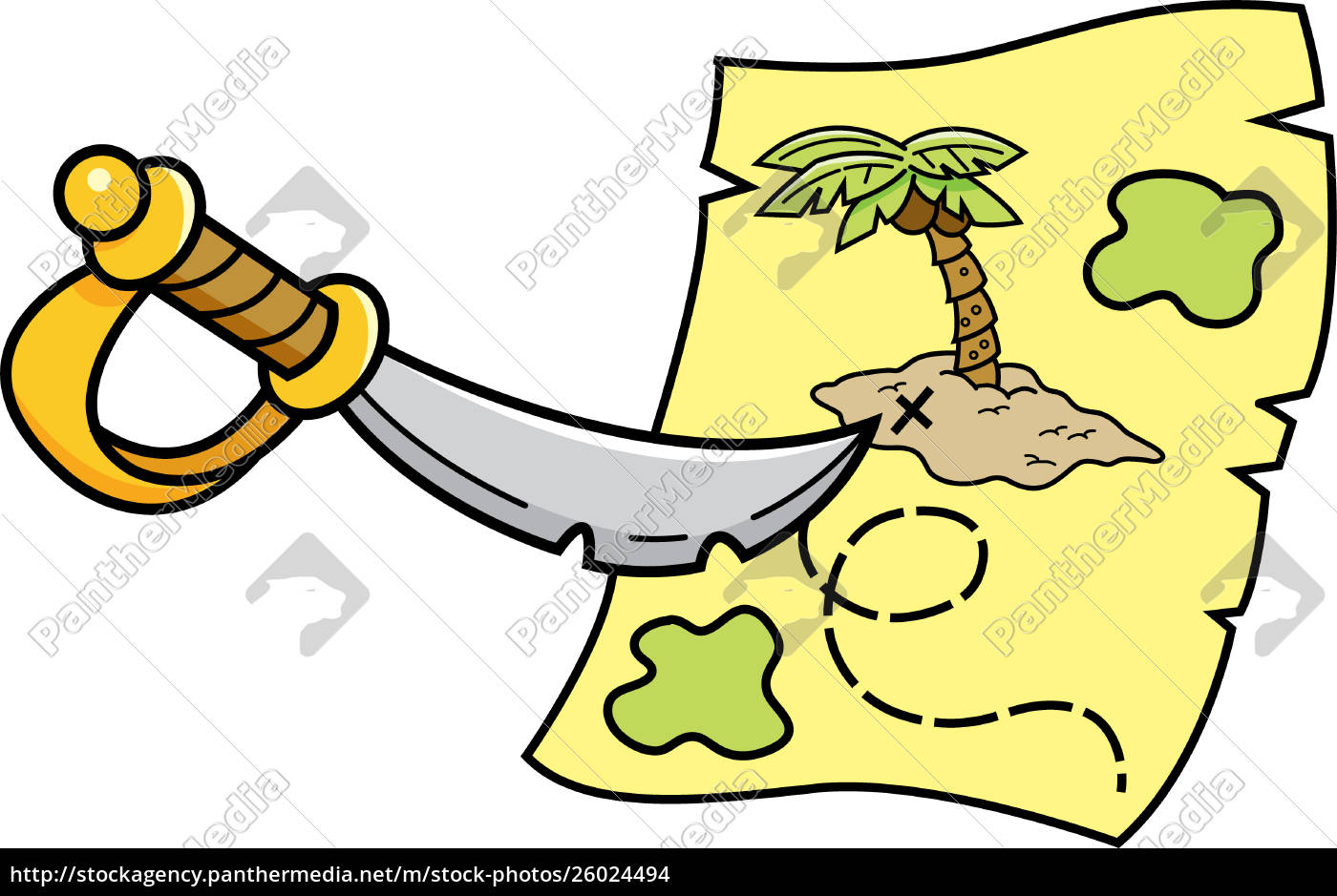 cartoon, illustration, of, a, sword, pointing - 26024494