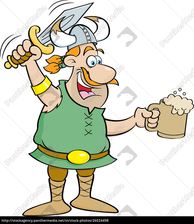 cartoon, illustration, of, a, viking, holding - 26024498