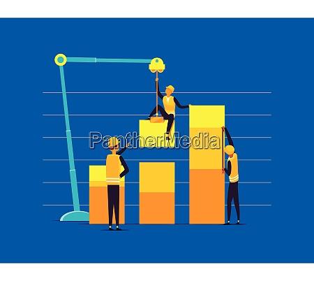 builders assembling bar chart