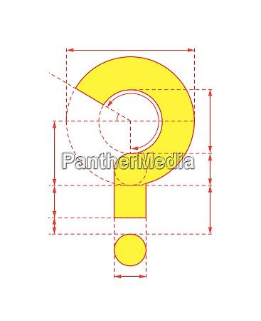 gult sporgsmalstegn pa foldbar papir