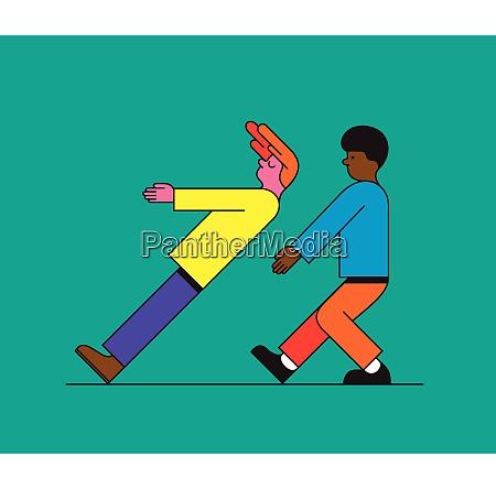 boy, falling, down, trusting, on, friend - 26028154
