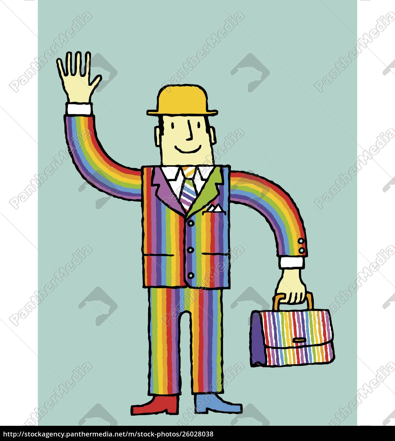 businessman, in, rainbow, suit, waving - 26028038