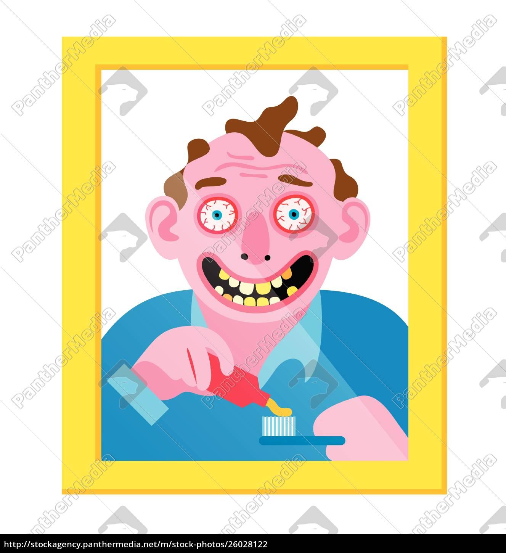crazy, man, in, mirror, brushing, his - 26028122