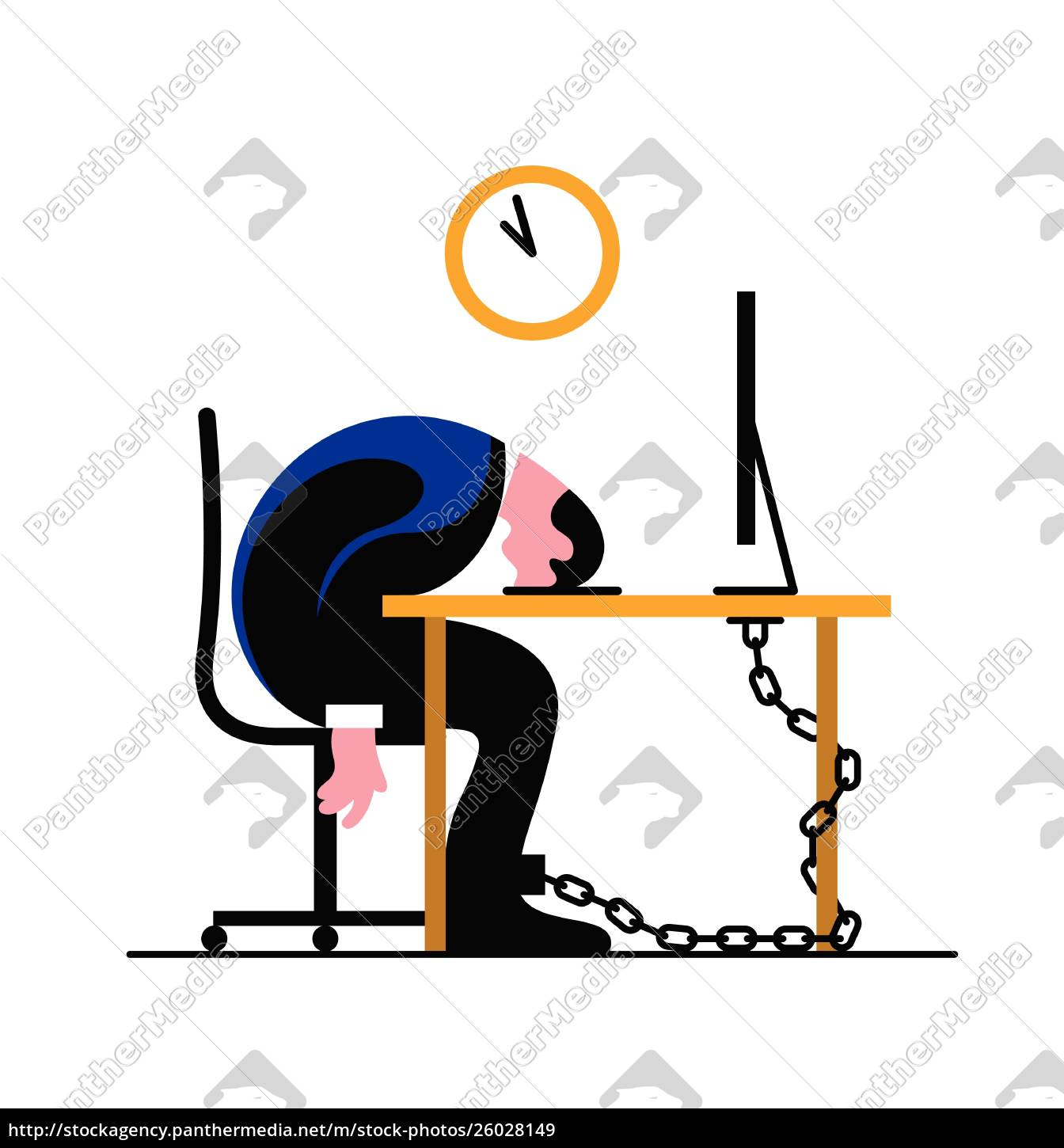 exhausted, businessman, chained, to, desk, sleeping - 26028149