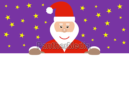 santa behind empty sign and purple