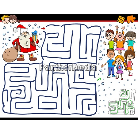 cartoon maze game with santa claus