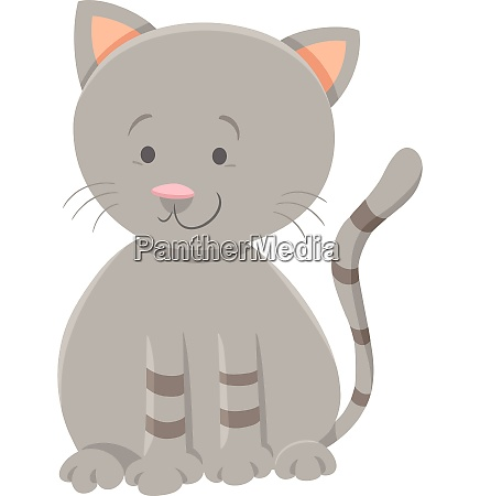 cute gray kitten cartoon animal character