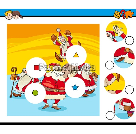 match pieces puzzle with santa claus