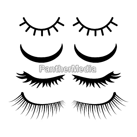 closed eyes with lashes set design
