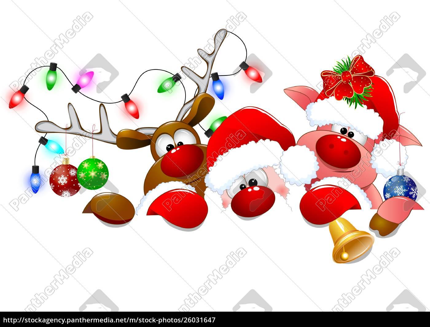 santa, claus, , deer, and, piglet, 1 - 26031647