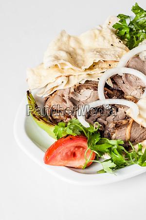 traditional turkish food lavash kebab on