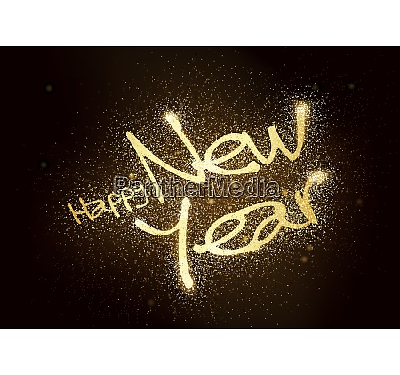 happy new year glitter greeting card