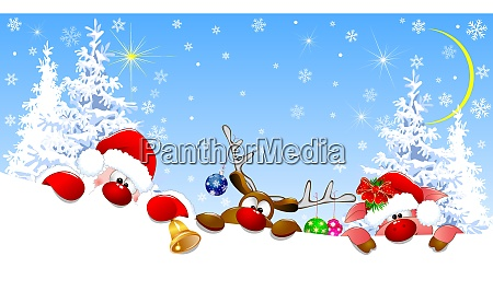 santa, , deer, and, piglet, on, christmas - 26033095