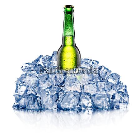 cooling green beer bottle