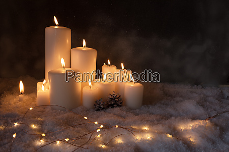 christmas lights in cold winter night