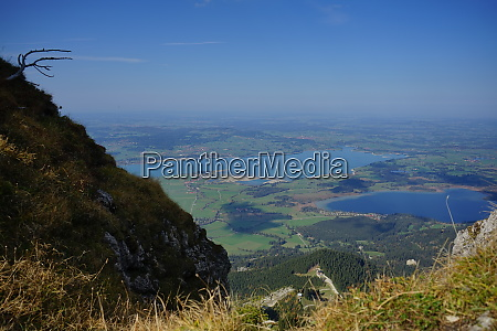 view from the mountain tegelberg down