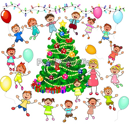 children rejoice at the christmas tree