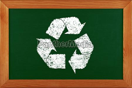 green school chalkboard with chalk recycle