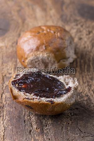 stuck a bavarian bun with raisins