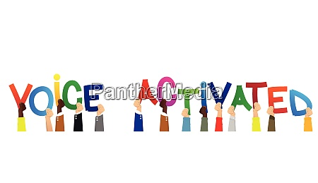 diverse hands holding letters of the