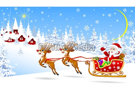 santa on a sleigh with deers