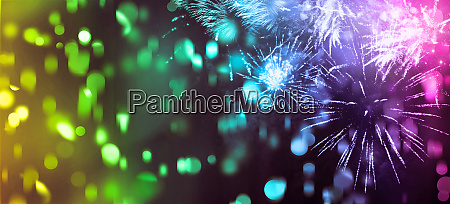 background banner of multicolor fireworks and