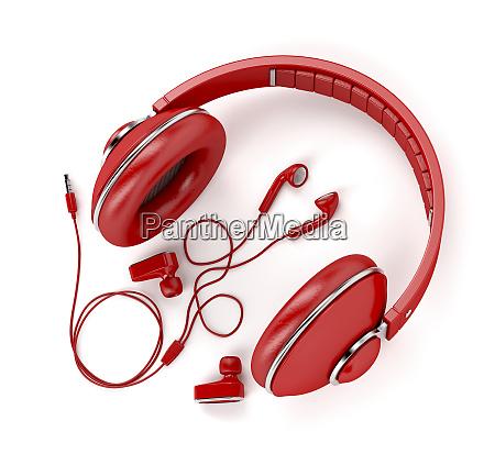 different types of earphones in red