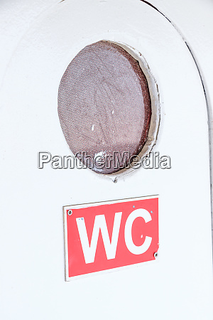 wc door on a ferryboat