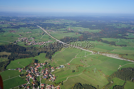 aerial view of landscape in the