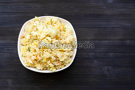 top view of fried rice in