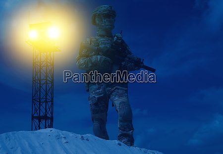 soldier at night patrol or watch
