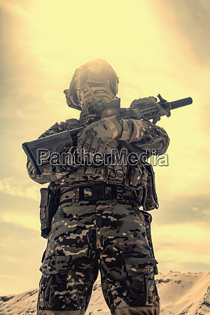 military airsoft soldier reenactment participant with