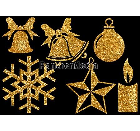 christmas glitter elements on black background