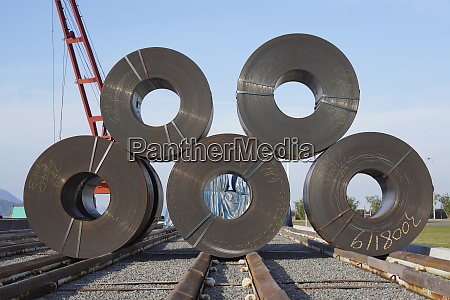 stack of rolls of iron sheet