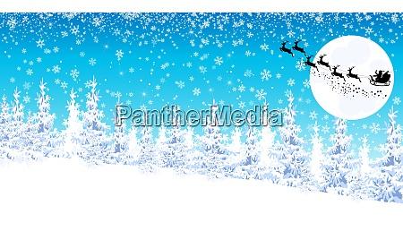 winter, landscape, , santa, on, a, sleigh - 26051605