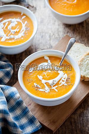 bowls of homemade pumpkin soup