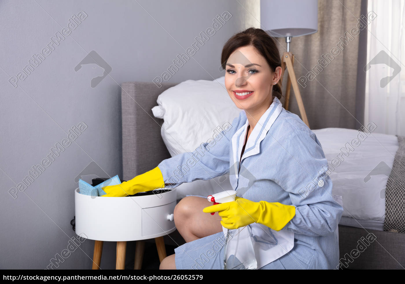 housemaid, cleaning, furniture, with, duster - 26052579
