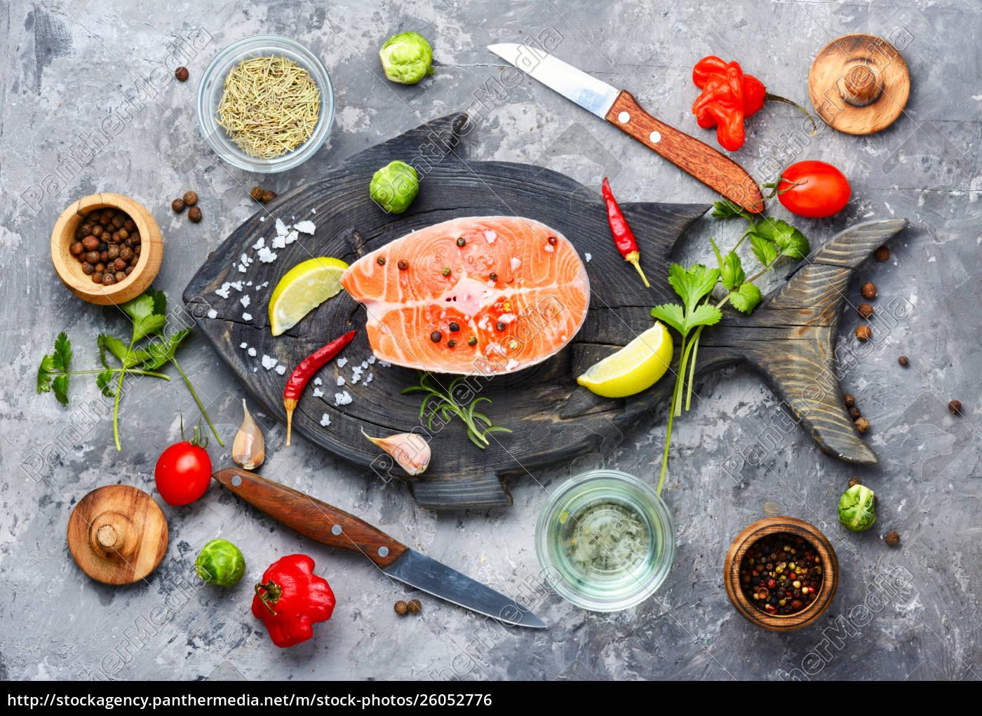 raw, salmon, steak - 26052776
