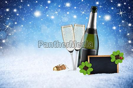 happy new year ice blue snow