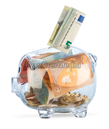 transparent piggy bank euro coins bank