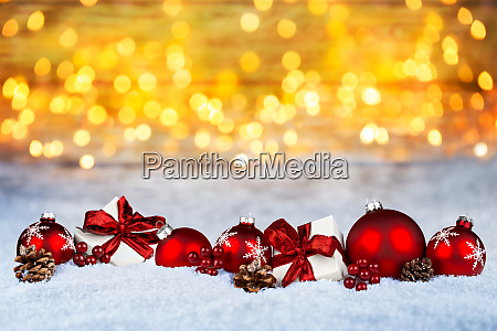 red christmas decoration snow golden bokeh