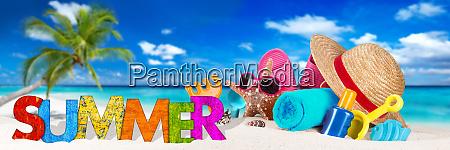summer beach accessory on tropical paradise