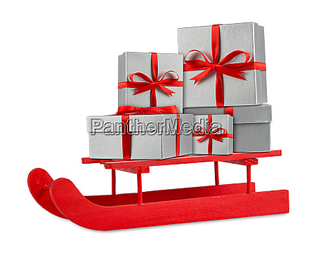 red silver christmas gift boxes on
