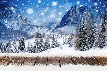 christmas xmas background with wooden snowy