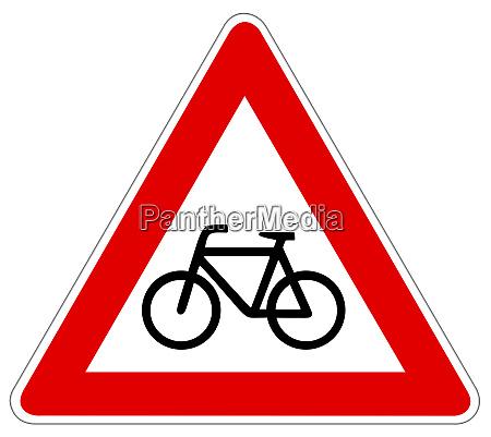 cyclist warning sign illustration