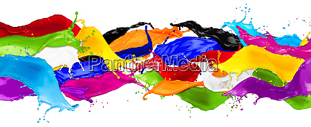 wide abstract color splashes