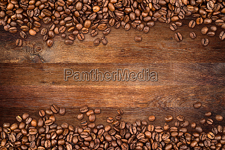 coffee beans old oak background